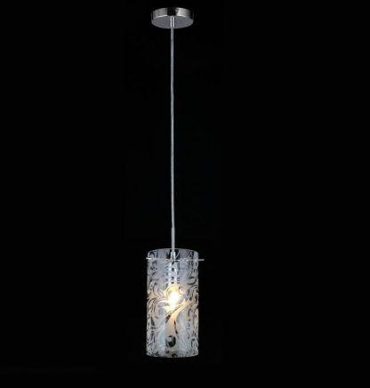 lampa wisząca z kloszem w srebrne wzory