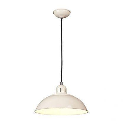 lampa wisząca z kremowym metalowym kloszem