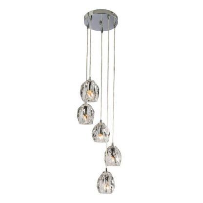 lampa wisząca z kryształowymi kloszami glamour
