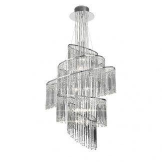 lampa wisząca z kryształowymi soplami do salonu