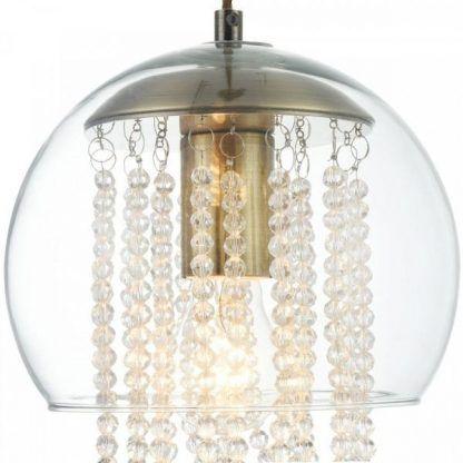 lampa wisząca z łańcuszkami kryształów - kula szklana