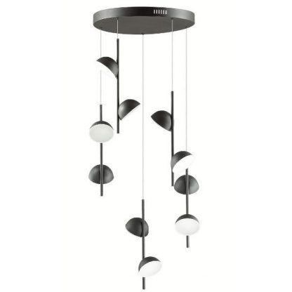 lampa wisząca z małymi czarnymi kloszami