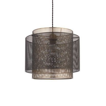 lampa wisząca z metalowej siatki złoto-brązowa