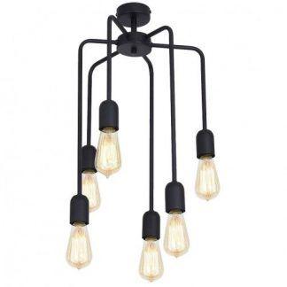 lampa wisząca z metalowych prętów gołe żarówki