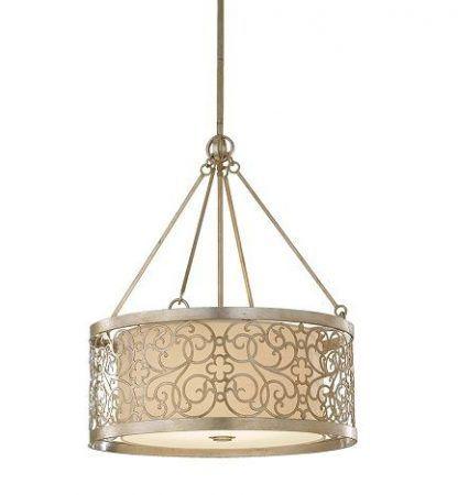 lampa wisząca z metalowym i materiałowym kloszem