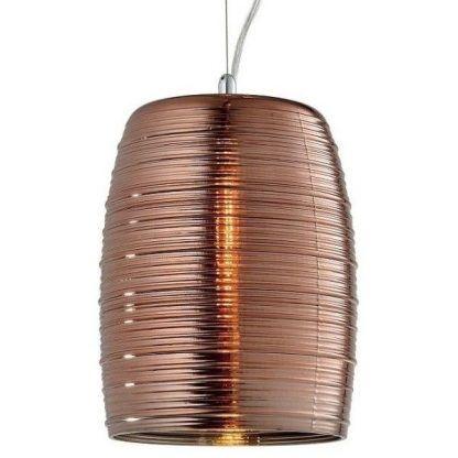 lampa wisząca z miedzianym kloszem do salonu
