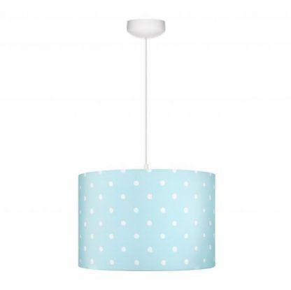 Lampa wisząca z niebieskim abażurem w białe grochy