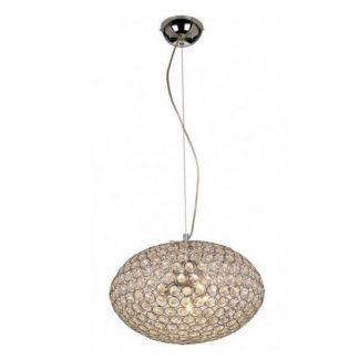 Lampa wisząca z owalnym kloszem i kryształkami