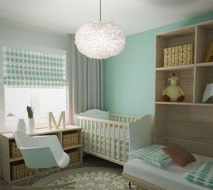 lampa wisząca z piór do pokoju dziecięcego i zielonych ścian