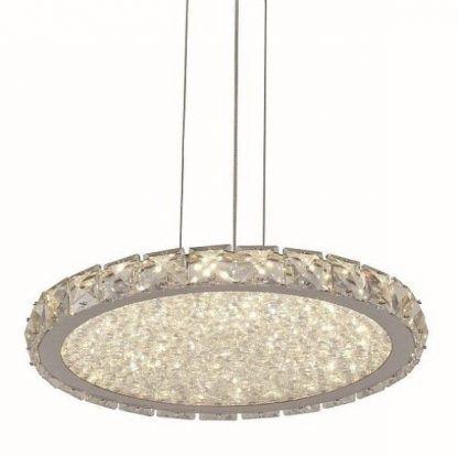 lampa wisząca z płaskim kloszem nad stół kryształki