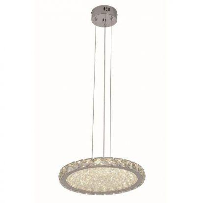 lampa wisząca z płaskim kryształowym kloszem