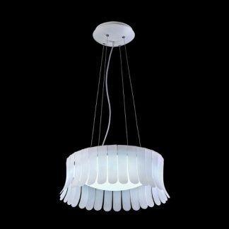 lampa wisząca z płatkami na linkach stalowych do salonu