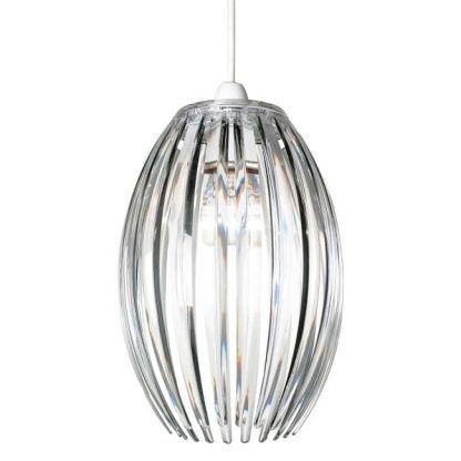 lampa wisząca z podłużnym kryształowym kloszem