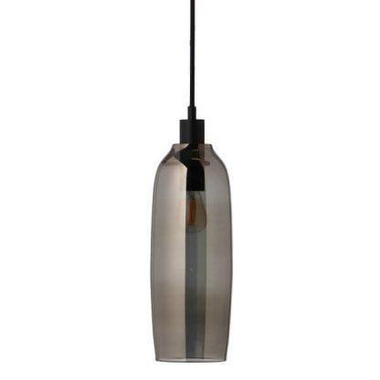 lampa wisząca z podłużnym szklanym kloszem szara