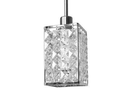 lampa wisząca z prostokątnym kloszem z kryształków