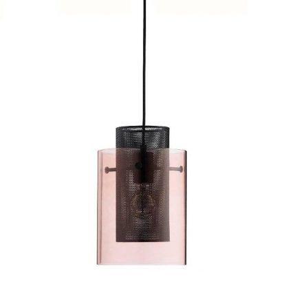 lampa wisząca z stalowym i szklanym kloszem - różowa