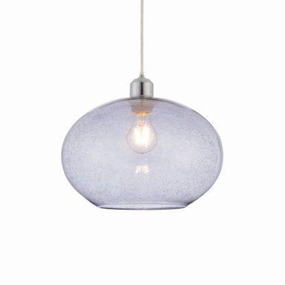 lampa wisząca z szarego szkła z otwartym kloszem