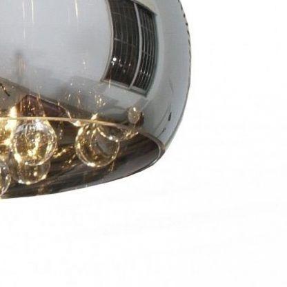 lampa wisząca z szarym kloszem i kryształkami