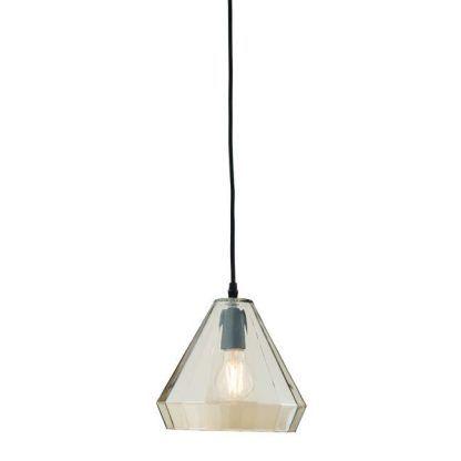 lampa wisząca z trójkątnym szklanym kloszem
