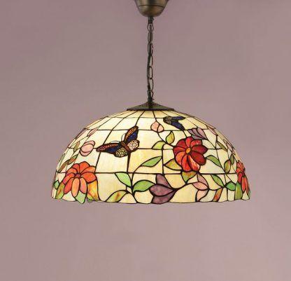 lampa wisząca z witrażowego szkła tiffany w kwiaty