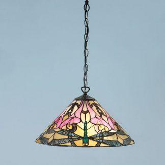 lampa wisząca z witrażowym kloszem brązowa oprawa