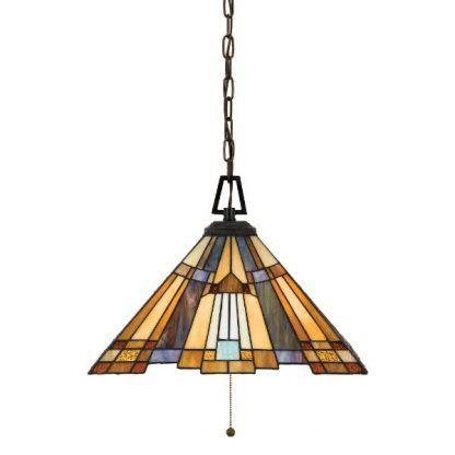 Lampa wisząca z witrażowym kloszem salon