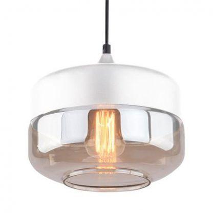 lampa wisząca ze spłaszczonym bursztynowym kloszem