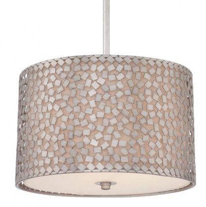 lampa wisząca ze srebrnej mozaiki mleczny klosz