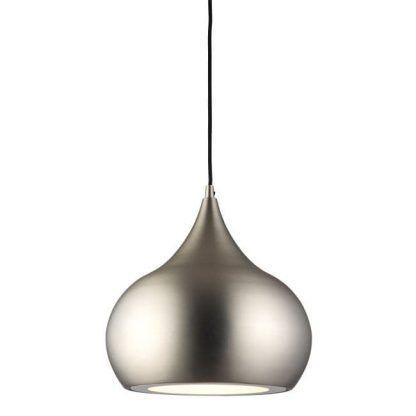 lampa wisząca ze srebrnym kloszem nad stół