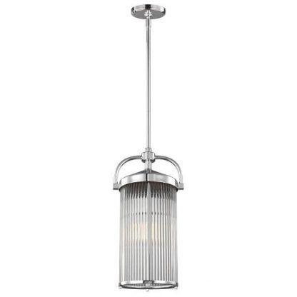 Lampa wisząca ze srebrnym wykończeniem i szklanym kloszem