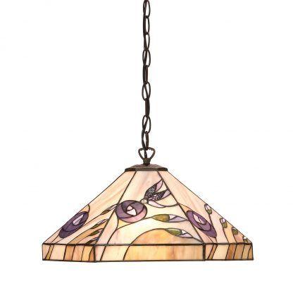 lampa wisząca ze szkła tiffany pastelowe kwiaty