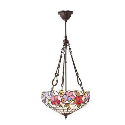 lampa wisząca ze szkła witrażowego tiffany kwiaty