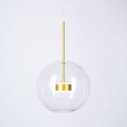 Lampa wisząca ze szklanym kloszem złota oprawka