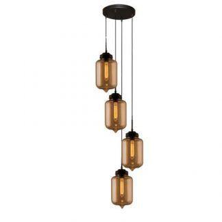 lampa wisząca ze szklanymi kloszami beżowa
