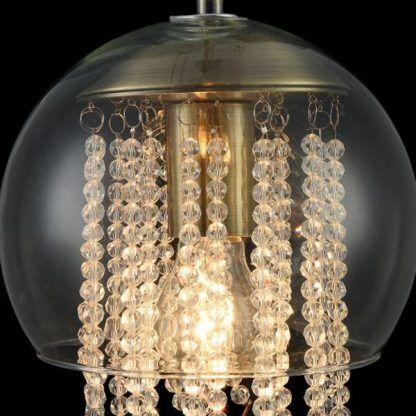 lampa wisząca ze zdobionym wnętrzem kryształami glamour