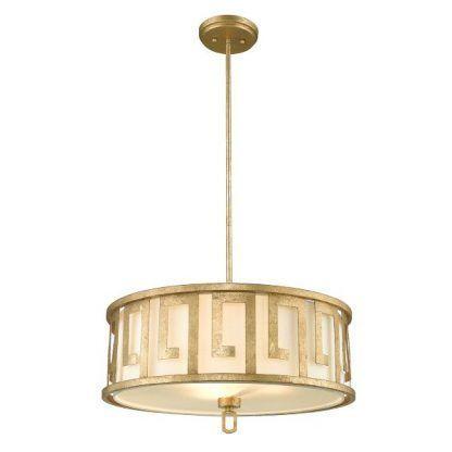 Lampa wisząca ze złotymi wzorami na kloszu do sypialni