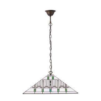 Lampa witrażowa z kloszem w białe cienkie paski