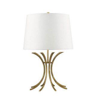 Lampa z ażurową bazą i białym abażurem do sypialni