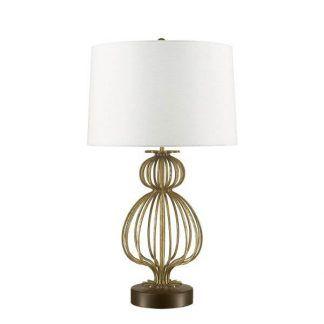 Lampa z białym abażurem i metalową ażurową podstawą