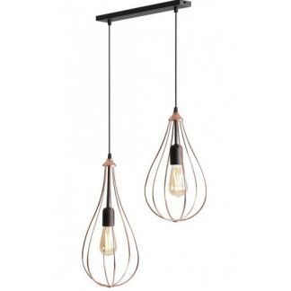 lampa z drucianymi kloszami miedź do salonu