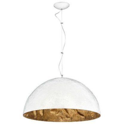 Lampa z dużym złotym kloszem od środka