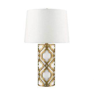 Lampa z klasycznym białym abażurem z wzorzystą podstawą