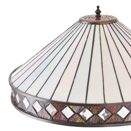 lampa z kloszem ze szkła witrażowego małe szkiełka