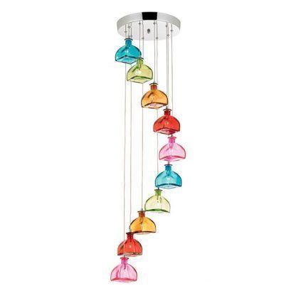 Lampa z kolorowymi kloszami na różnej wysokości