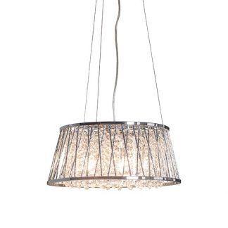 Lampa z kryształowymi łańcuszkami w srebrnej obudowie