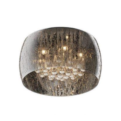 Lampa z kryształowymi ozdobami i obudową w krople