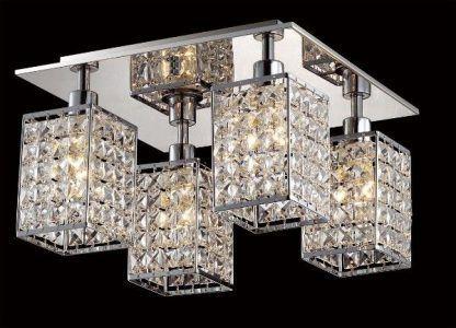 Lampa z lustrzaną podstawa i 4 kryształowymi kloszami