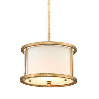 Lampa z mlecznym kloszem w złotej oprawie sypialnia
