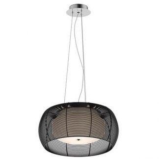 Lampa z obudową z czarnych drucików i białym kloszem sypialnia