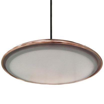 lampa z płaskim kloszem LED miedziana nowoczesna
